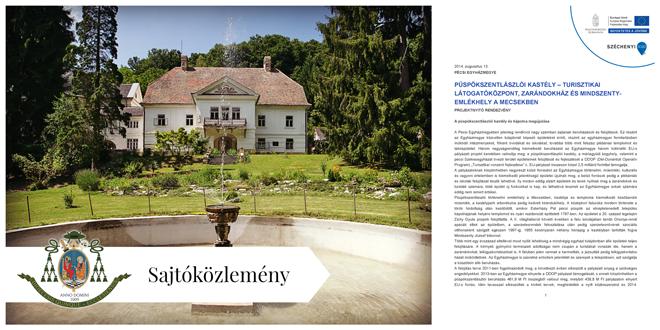 Sajtóközlemény: Püspökszentlászlói kastély - Turisztikai látogatóközpont, zarándokház és Mindszenty-emlékhely a Mecsekben